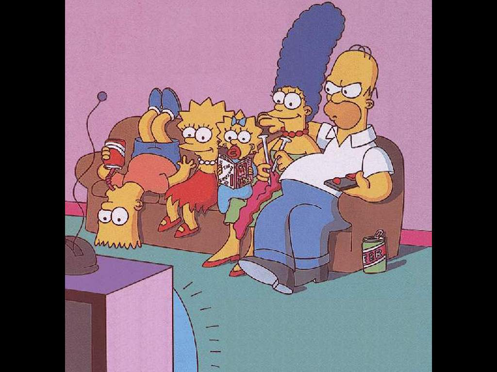 Cartoons Wallpaper: Simpsons Family Watching TV