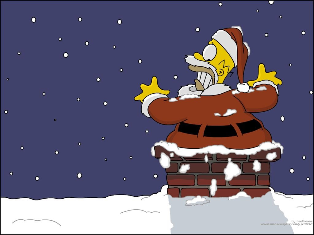 Cartoons Wallpaper: Simpsons - Santa Homer