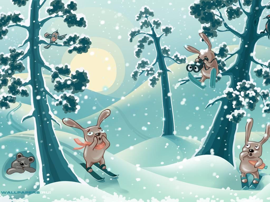 Cartoons Wallpaper: Skiing Rabbits