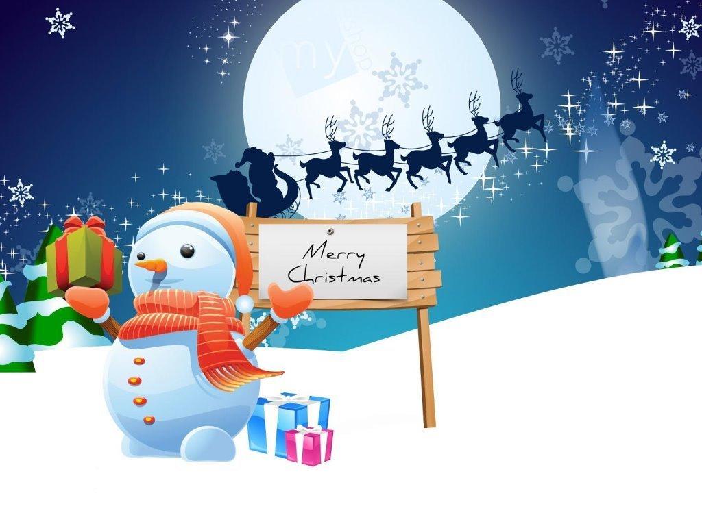 Cartoons Wallpaper: Snowman - Merry Christmas!