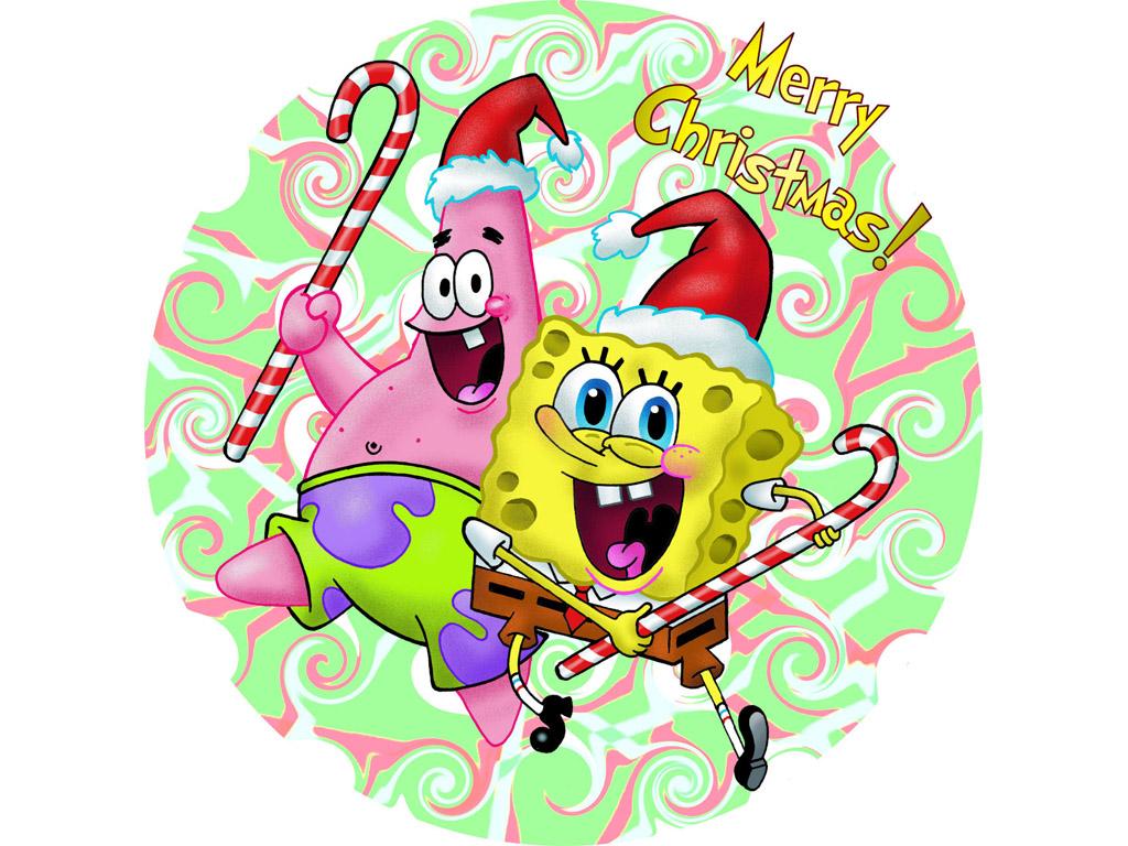 Cartoons Wallpaper: Spongebob and Patrick - Merry Christmas