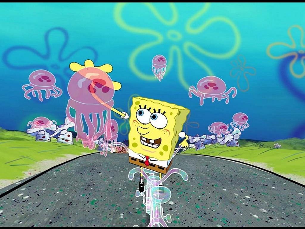 Cartoons Wallpaper: Spongebob - Bike