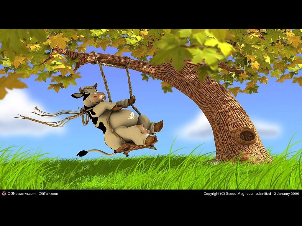 Cartoons Wallpaper: Swinging Cow