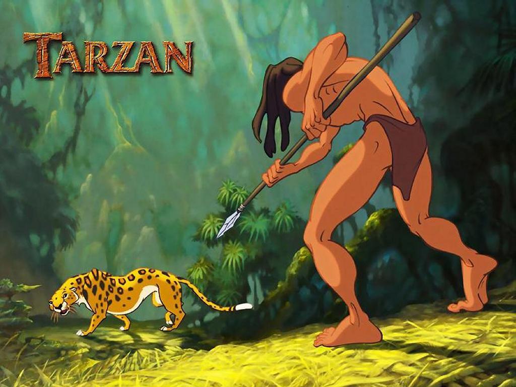 Cartoons Wallpaper: Tarzan Against Tiger