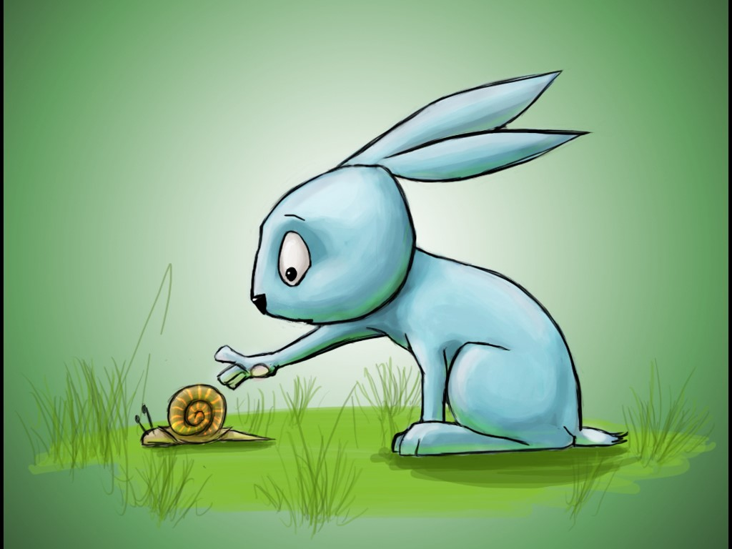 Cartoons Wallpaper: The Lepus and the Snail