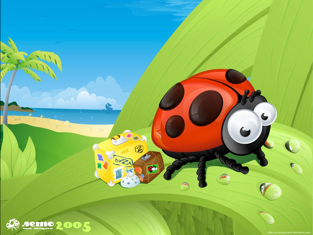Cartoons Wallpaper: Traveller Ladybug