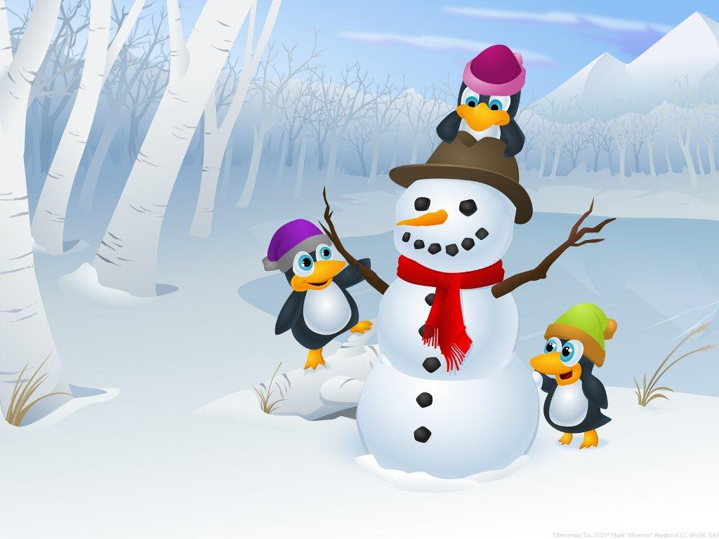 Cartoons Wallpaper: Tux - Christmas