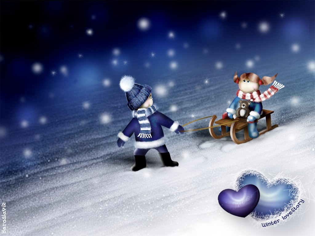 Cartoons Wallpaper: Winter Lovestory