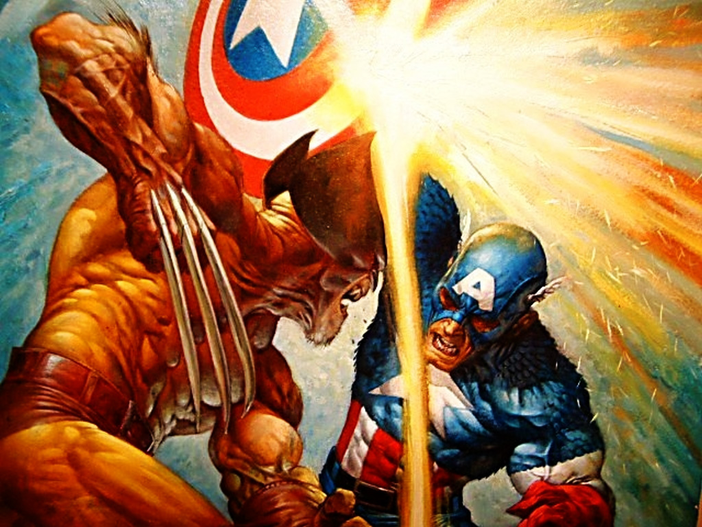 Comics Wallpaper: Captain America vs. Wolverine (by Greg Staples)