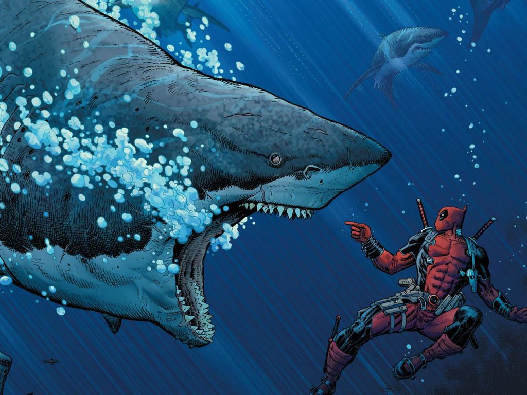Comics Wallpaper: Deadpool vs Shark