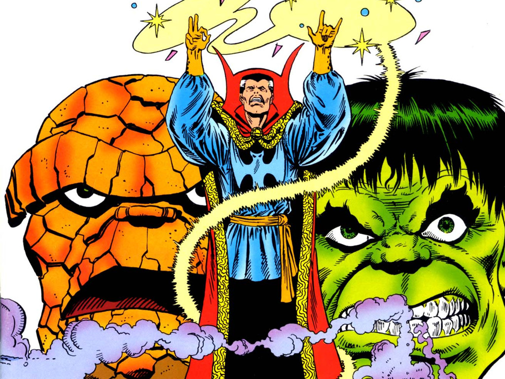 Comics Wallpaper: Doctor Strange, Thing and Hulk