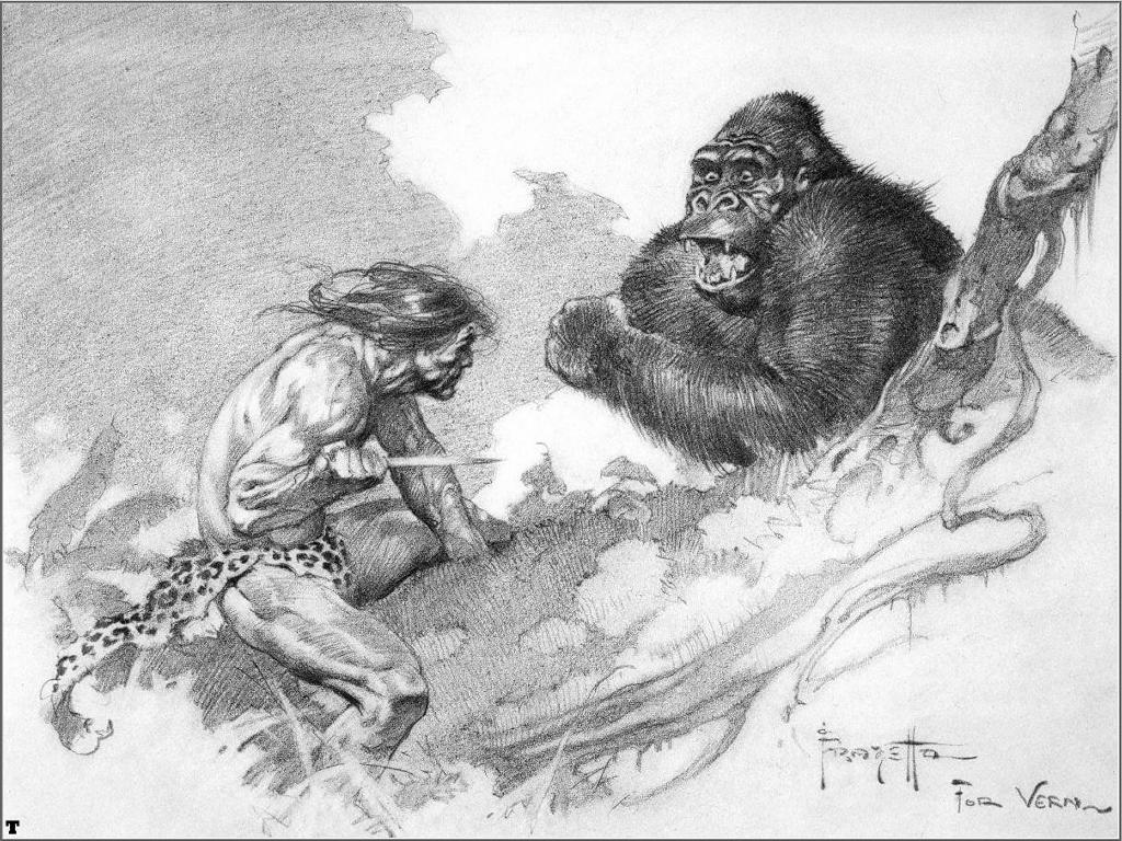 Comics Wallpaper: Frank Frazetta - Tarzan and Bolgani