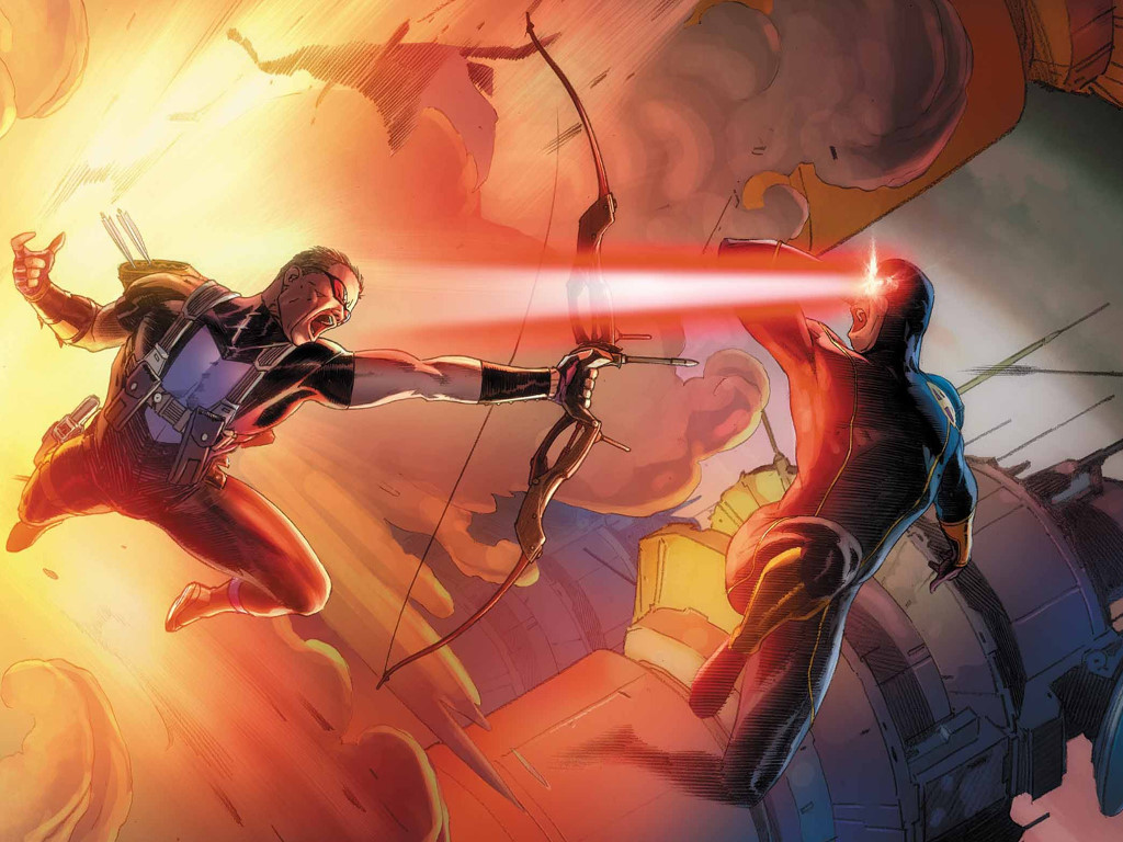 Comics Wallpaper: Hawkeye vs Cyclops