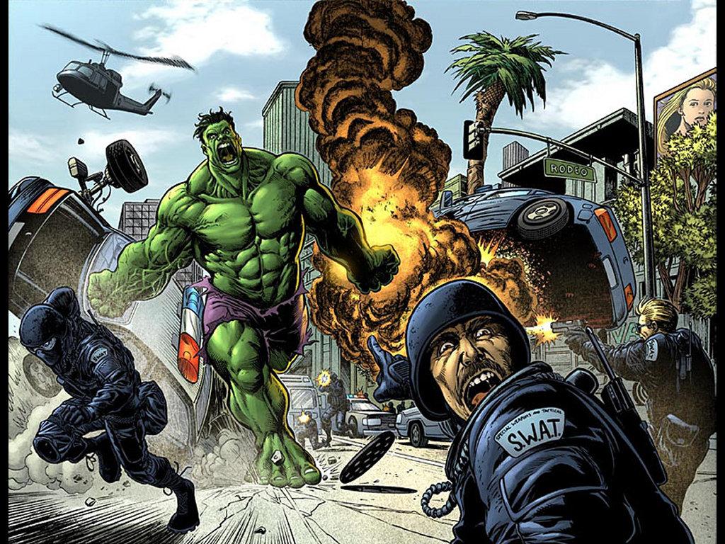 Comics Wallpaper: Hulk vs SWAT