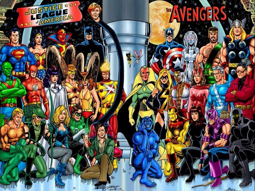 Papel de Parede Gratuito de Quadrinhos : Liga da Justiça e Vingadores - Clássico