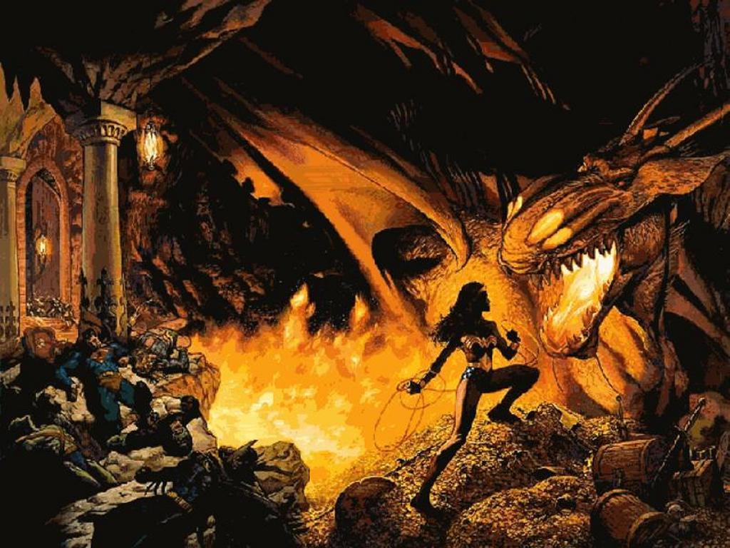 Comics Wallpaper: JLA - Wonder Woman vs Dragon