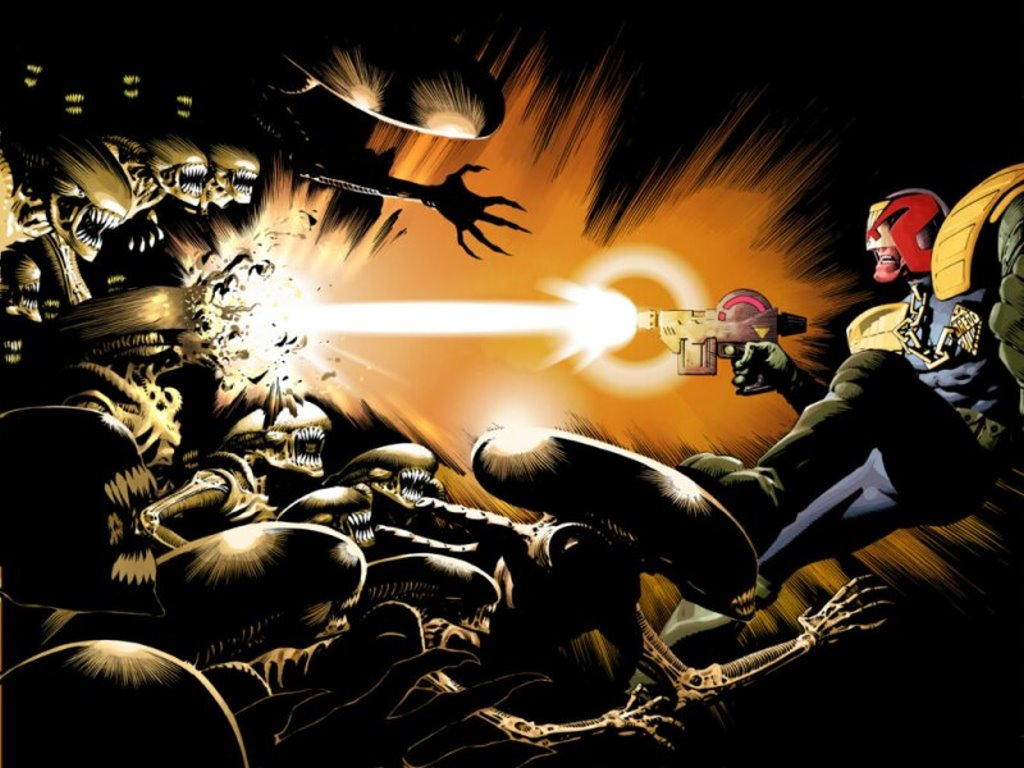 Comics Wallpaper: Judge Dredd vs Aliens