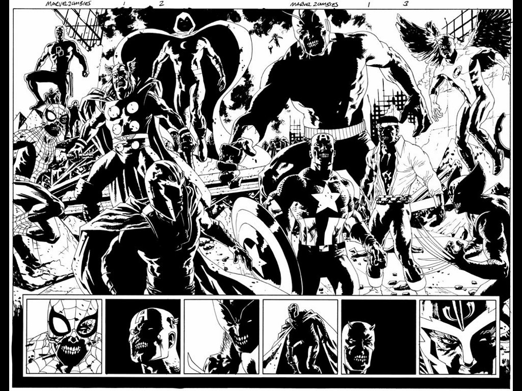 Comics Wallpaper: Marvel Zombies - Black and White
