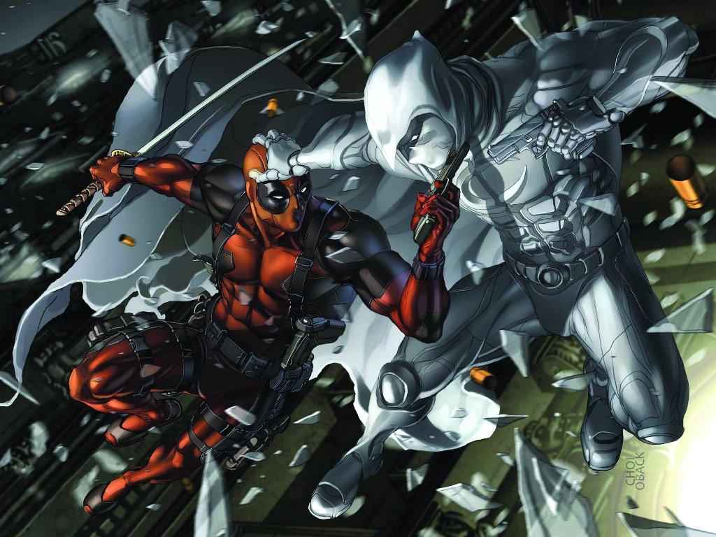 Papel de Parede Gratuito de Quadrinhos : Cavaleiro da Lua versus Deadpool