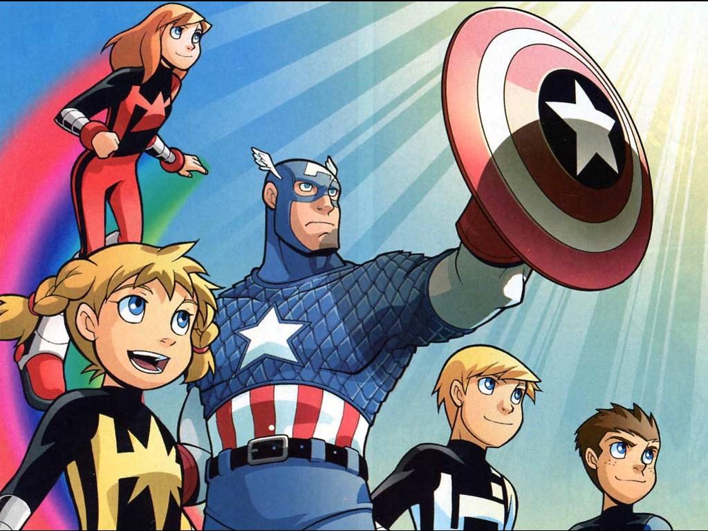 Comics Wallpaper: Power Pack and Captain America