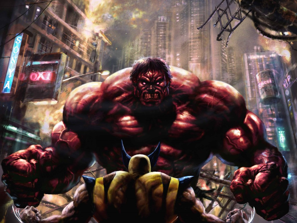 Comics Wallpaper: Red Hulk vs Wolverine