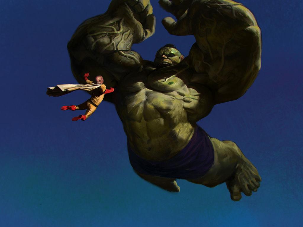 Comics Wallpaper: Saitama vs Hulk (by Jason Kang)