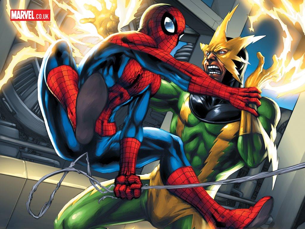 Comics Wallpaper: Spiderman vs Elektro