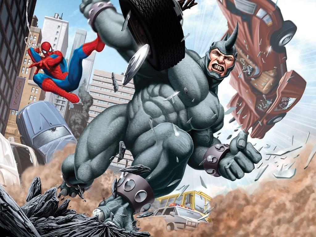 Comics Wallpaper: Spider-Man vs Rhino
