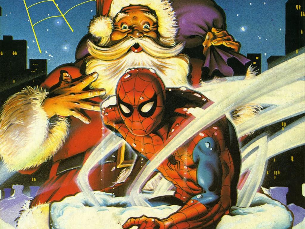 Comics Wallpaper: Spiderman and Santa Claus