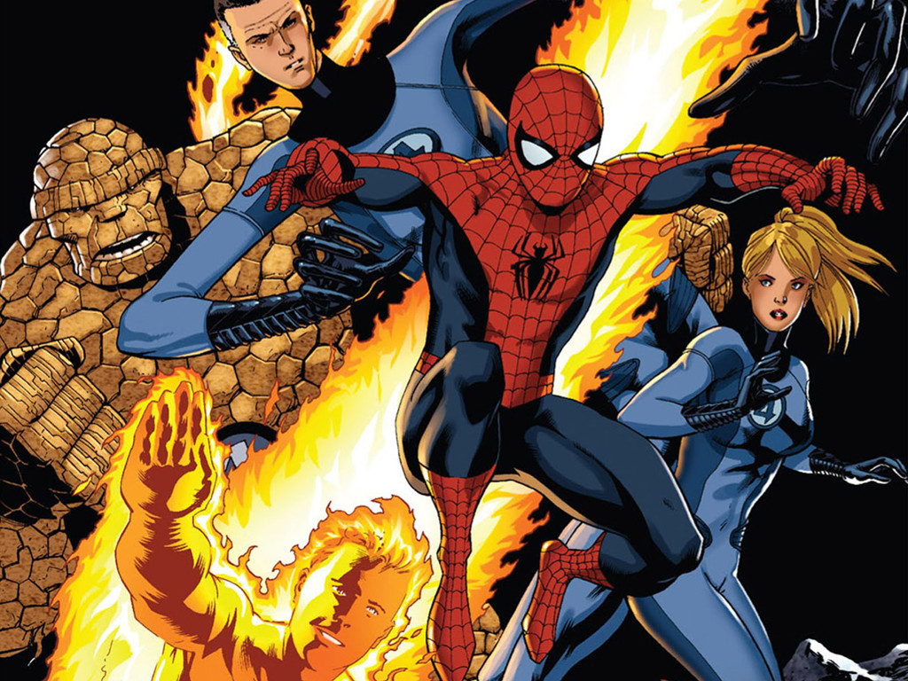 Comics Wallpaper: Spiderman and Fantastic Four