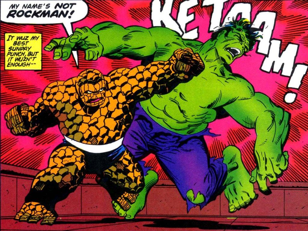 Comics Wallpaper: Thing vs Hulk (by Jim Starlin)