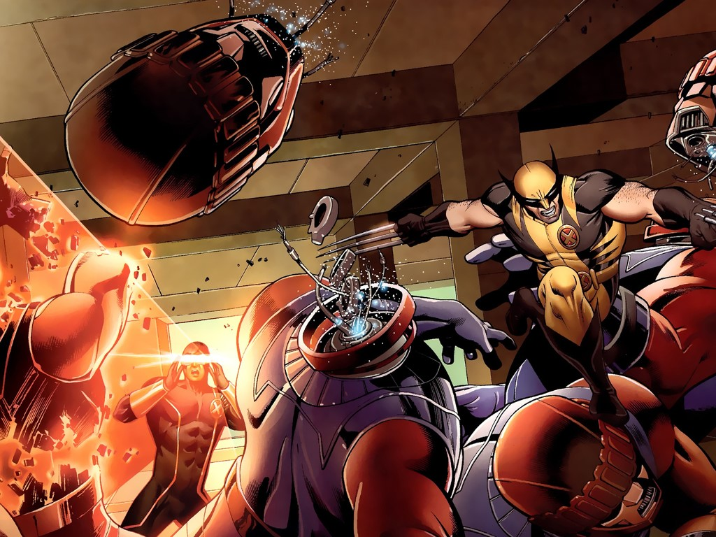 Comics Wallpaper: X-Men - Fighting Sentinels