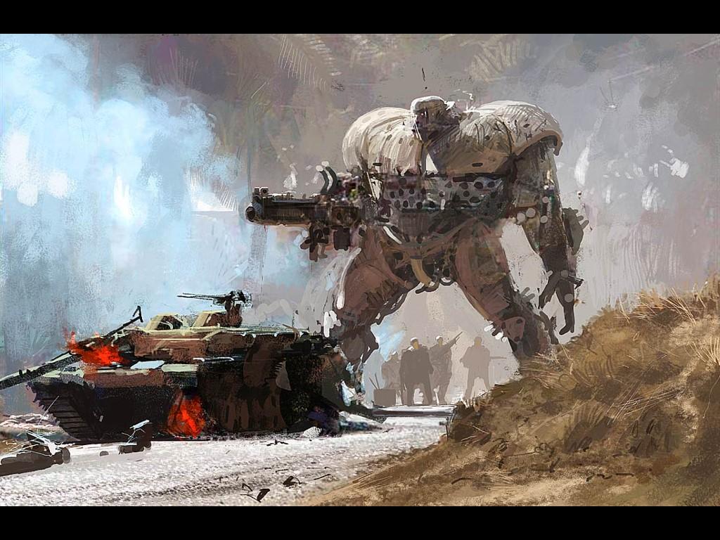 Fantasy Wallpaper: Craig Mullins - Mech (Desert)