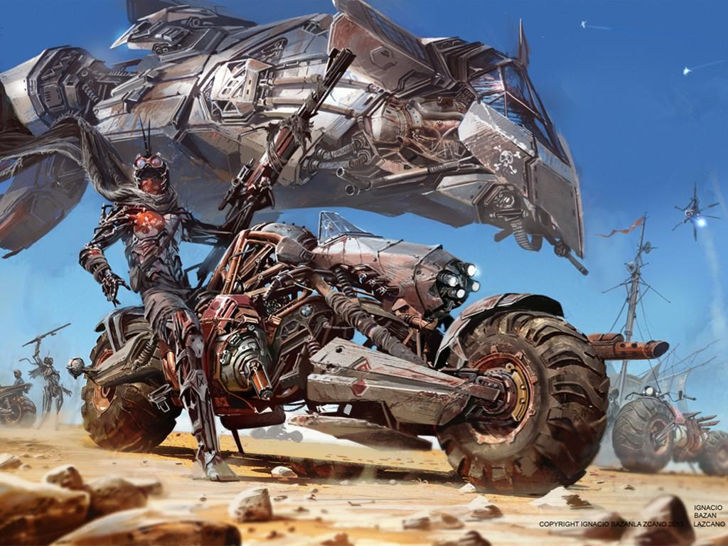 Fantasy Wallpaper: Desert Rebel Bike Camp (by Ignacio Bazan)