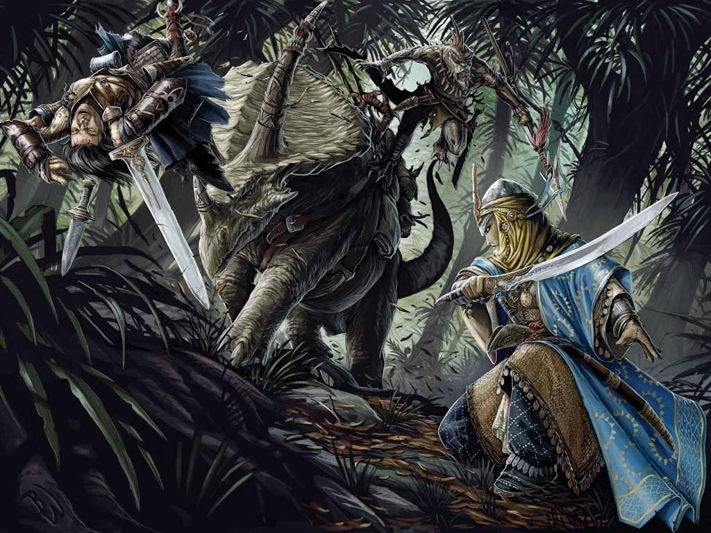 Fantasy Wallpaper: Dinosaur - Ambush!