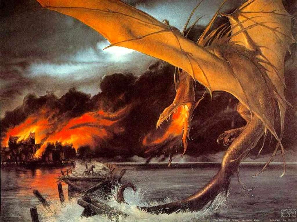 Fantasy Wallpaper: Dragon Attacks