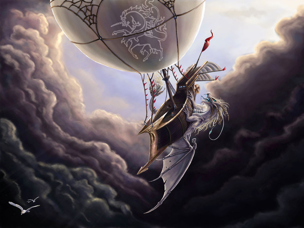 Fantasy Wallpaper: Dragon Attacks Air Ship