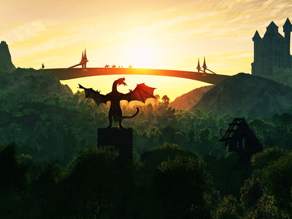 Fantasy Wallpaper: Dragon - Bridge Sunset