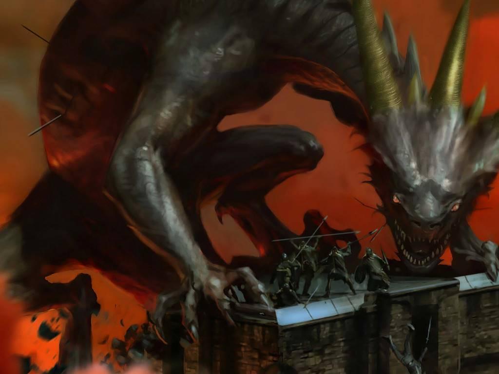 Fantasy Wallpaper: Dragon - Siege