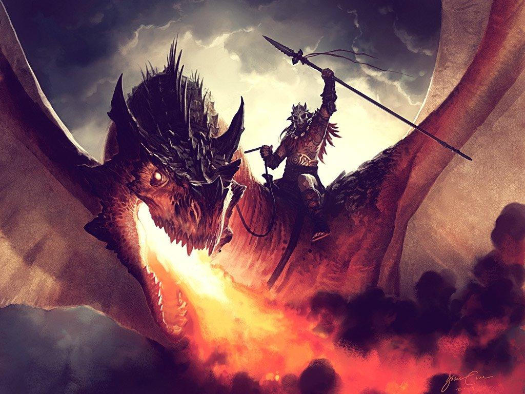 Fantasy Wallpaper: Dragonrider (by Jason Chan)