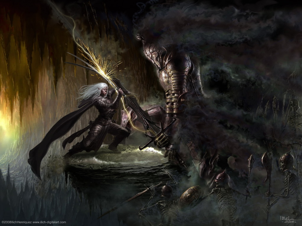 Fantasy Wallpaper: Drizzt vs The Unholy Warlord (by Ilich Henriquez)