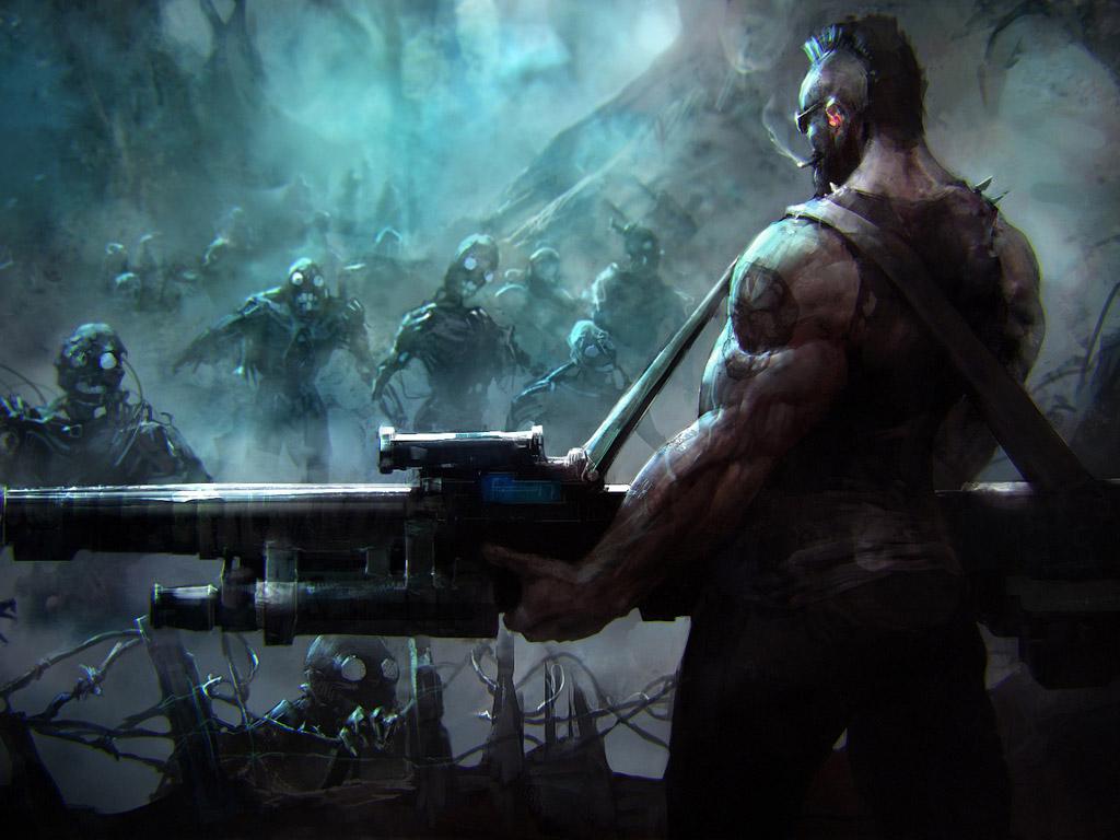 Fantasy Wallpaper: Evil Robot Zombies Must Die