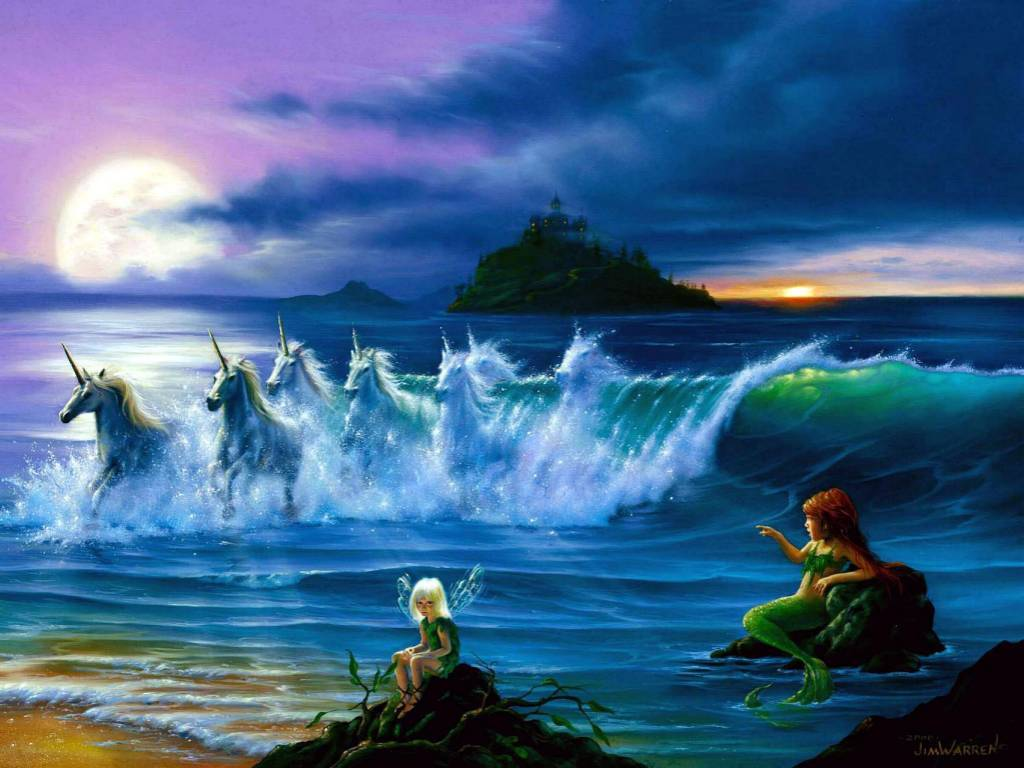 Fantasy Wallpaper: Faeries, Mermaids and Unicorns