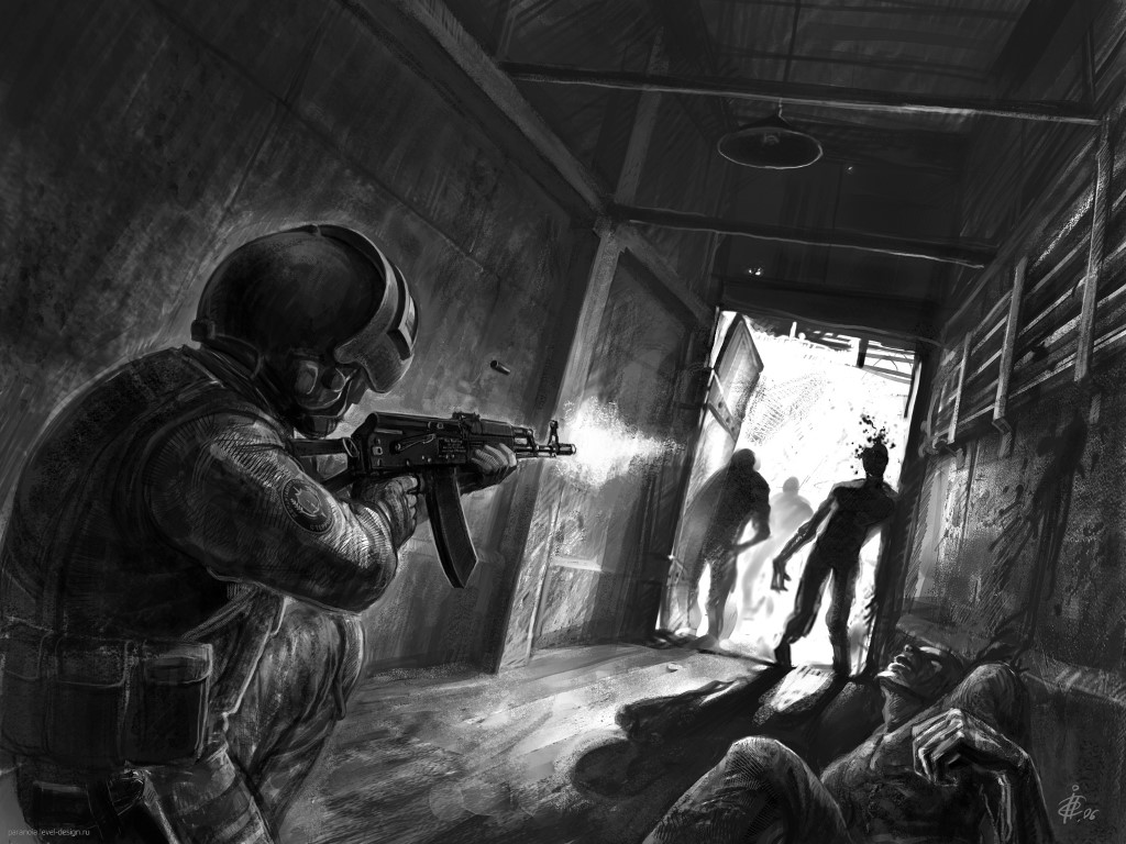 Fantasy Wallpaper: Fighting Zombies