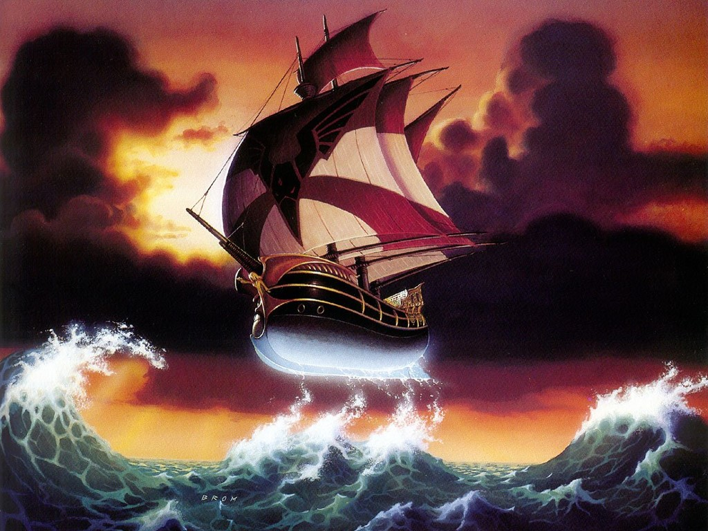 Fantasy Wallpaper: Flying Galleon