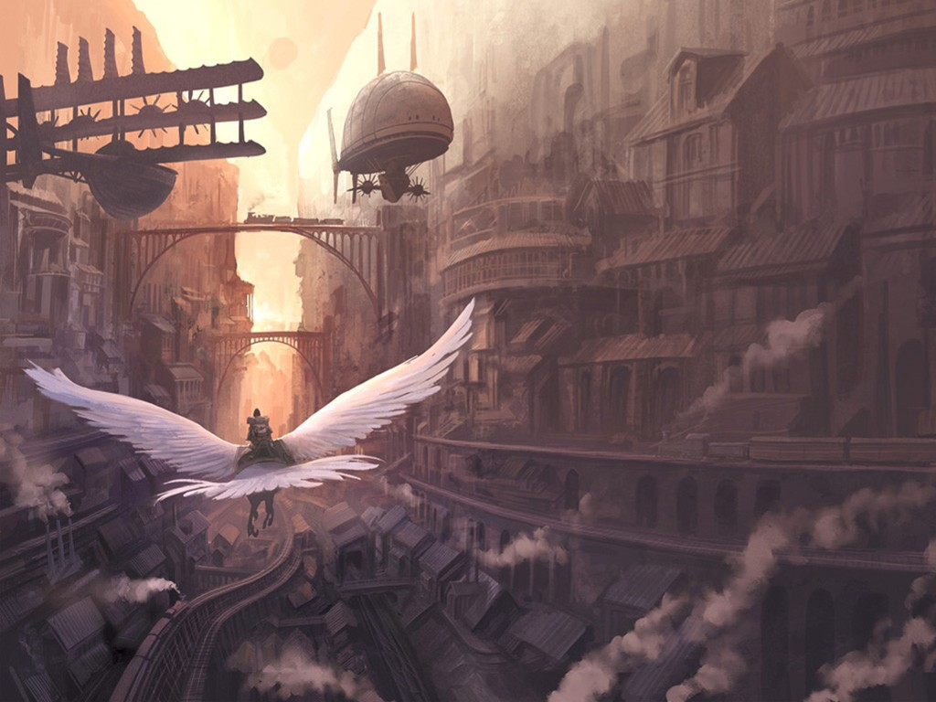 Fantasy Wallpaper: Flying in the Streets