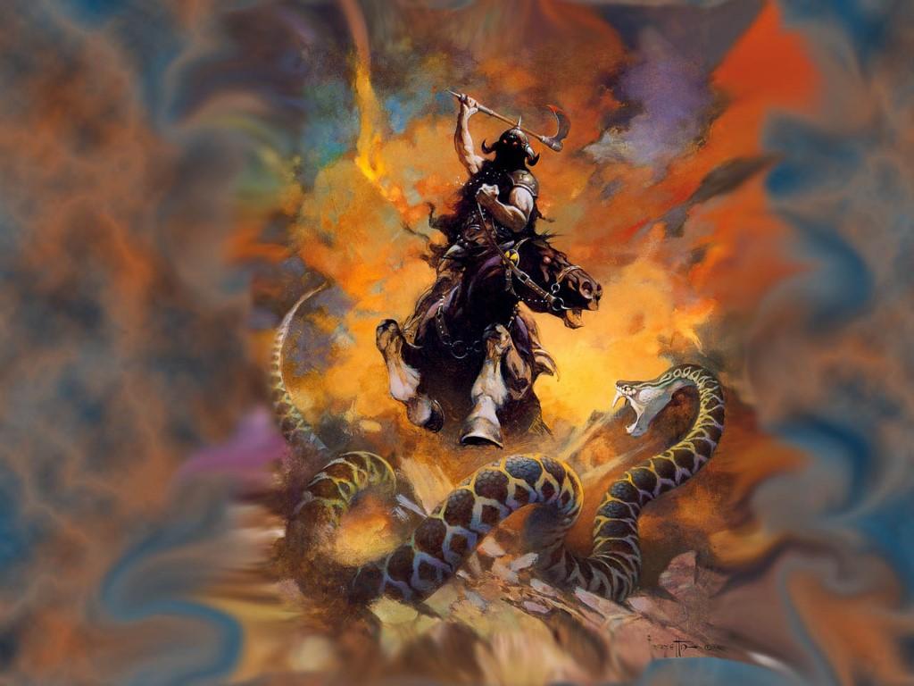Fantasy Wallpaper: Frank Frazetta - Death Dealer vs Serpent
