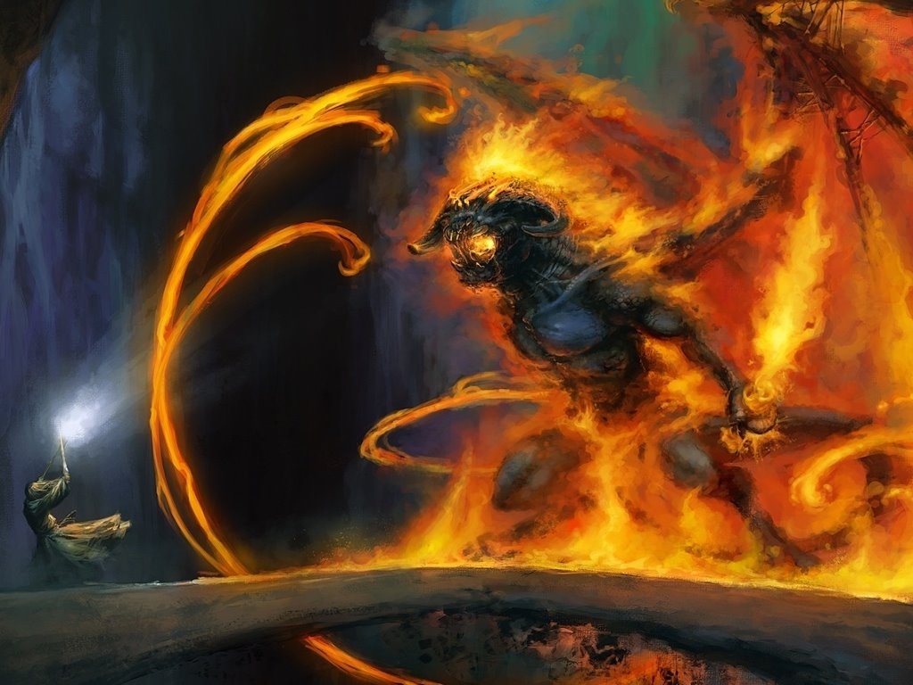 Fantasy Wallpaper: Gandalf vs Balrog