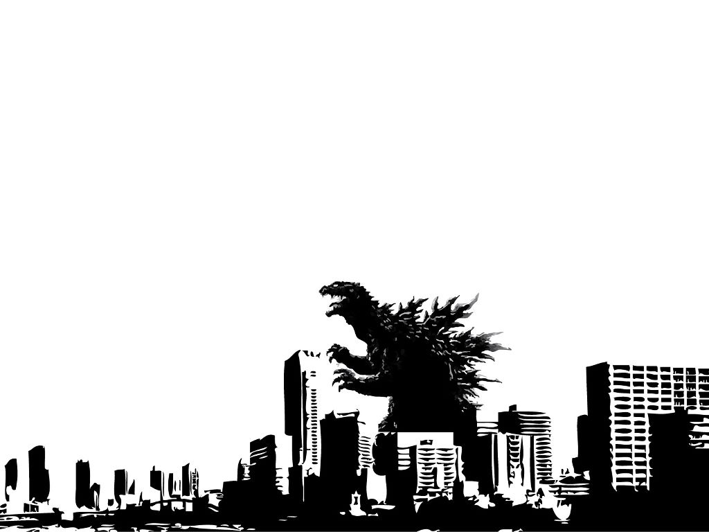Fantasy Wallpaper: Godzilla - Black and White
