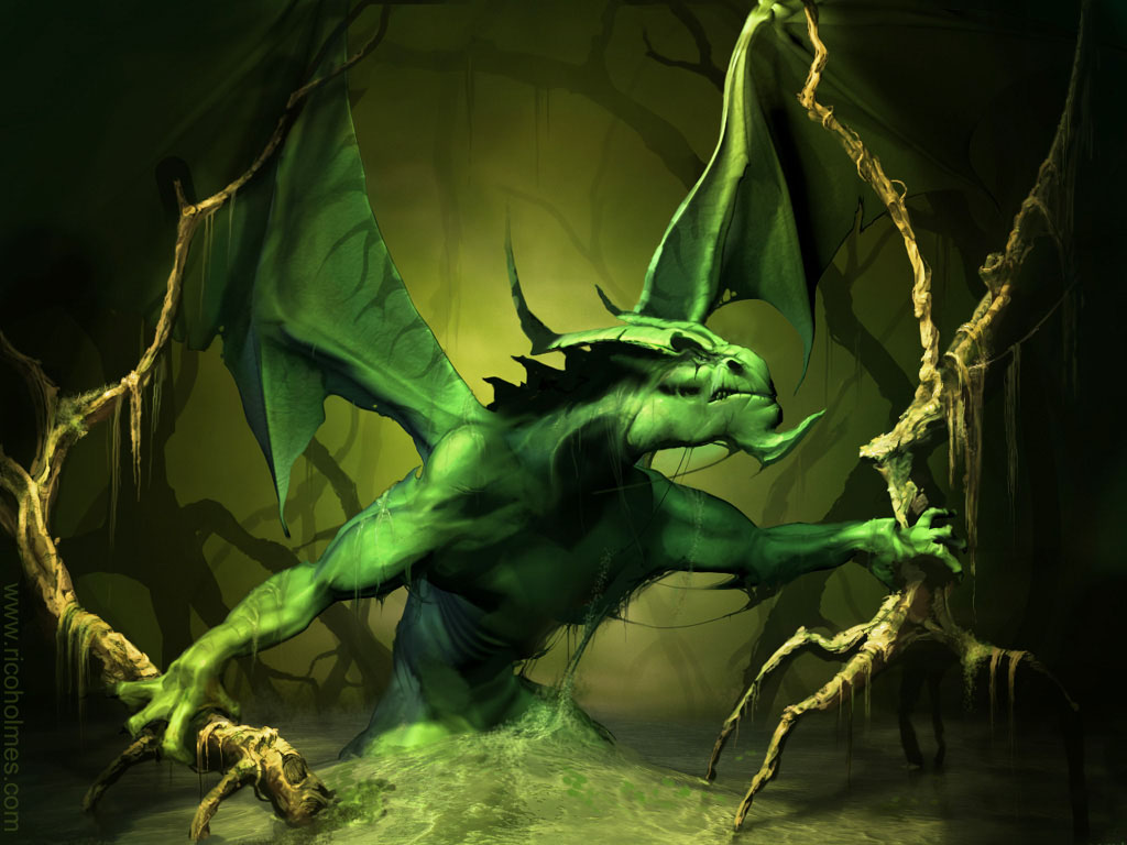 Fantasy Wallpaper: Green Dragon